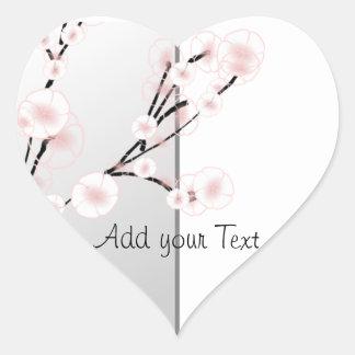 Wedding Cherry Blossoms Template Heart Sticker