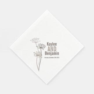 Wedding chervil / cows parsley brown paper napkin