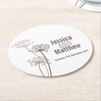 Wedding chervil graphic art brown paper coasters