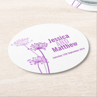 Wedding chervil graphic art purple paper coasters