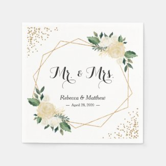 Wedding Chic Modern Ivory Gold Glitters Floral Paper Napkin