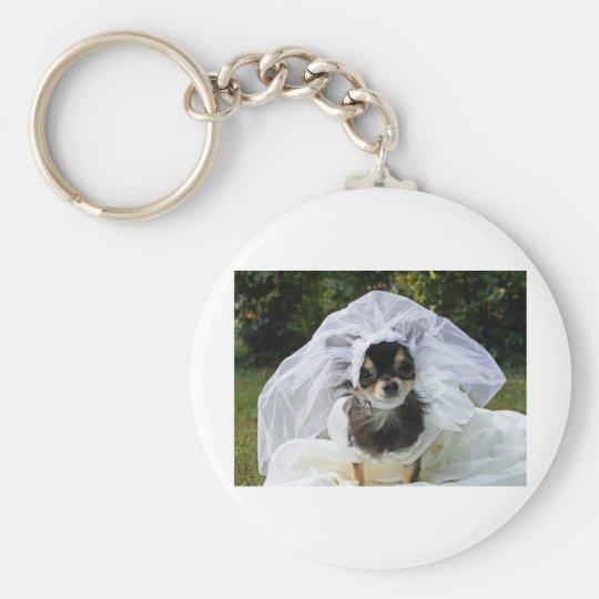 Wedding Chihuahua Bride Keychain