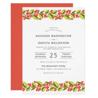 Wedding | Christmas Holly & Modern Typography Card