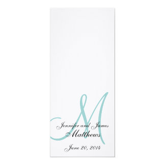 Wedding Church Program Blue Monogram Linen
