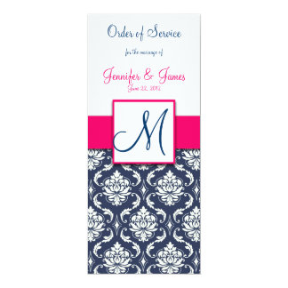 Wedding Church Program Hot Pink Navy Blue Damask