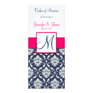 Wedding Church Program Hot Pink Navy Blue Damask Custom Invitation