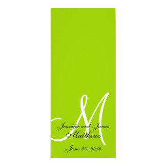 Wedding Church Program Monogram Apple Green White