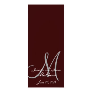 Wedding Church Program Monogram Brown & White