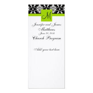 Wedding Church Program Monogram Damask Green 4x9.25 Paper Invitation Card