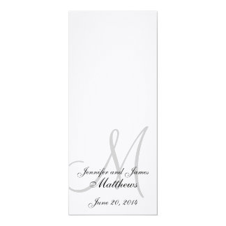 Wedding Church Program Monogram Linen White