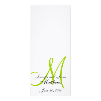 Wedding Church Program Monogram Linen White Green 4x9.25 Paper Invitation Card