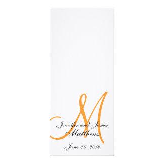 Wedding Church Program Monogram Linen White Orange 4x9.25 Paper Invitation Card