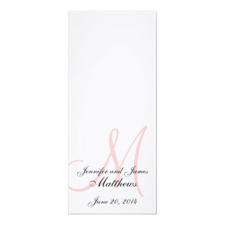Wedding Church Program Monogram Linen White Pink 4x9.25 Paper Invitation Card
