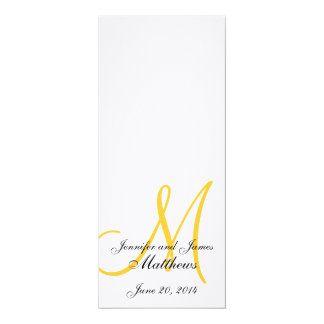 Wedding Church Program Monogram Linen White Yellow