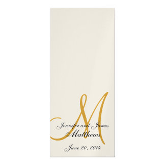 Wedding Church Program Monogram Metallic Gold Card