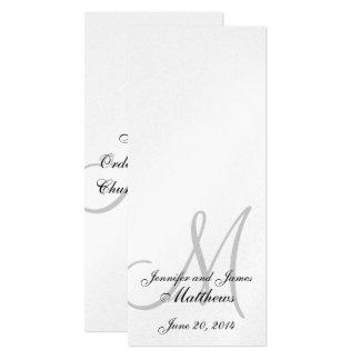 Wedding Church Program Monogram Metallic Silver Card