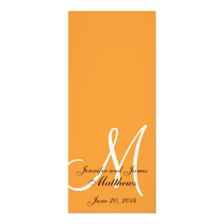 Wedding Church Program Monogram Orange & White 4x9.25 Paper Invitation Card