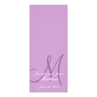 Wedding Church Program Monogram Purple & White