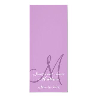 Wedding Church Program Monogram Purple & White 4x9.25 Paper Invitation Card