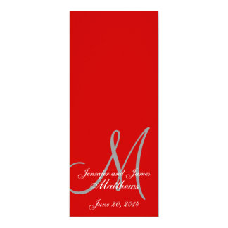 Wedding Church Program Monogram Red & White