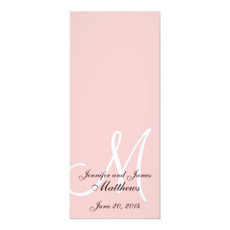 Wedding Church Program Monogram Soft Pink & White Card