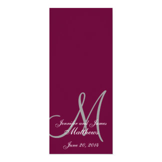 Wedding Church Program Monogram Wine & White