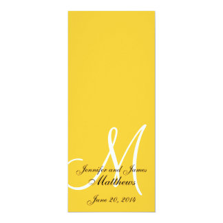 Wedding Church Program Monogram Yellow  & White