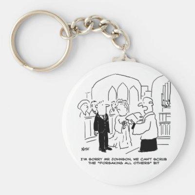Wedding Church Service Vicar Can't Scrub Vows Keychain