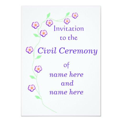 Wedding Civil Ceremony Invitation Pink Floral