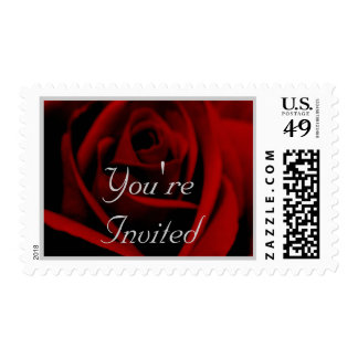 Wedding: Classic Red & Pearl Grey Postage Stamp