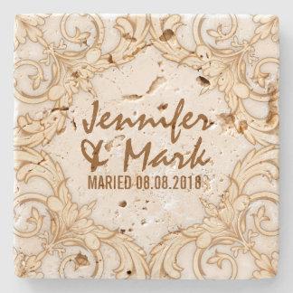 Wedding Coaster Beige Tones Vintage Floral Frame 2 Stone Coaster