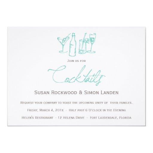 "Wedding Cocktail Invitations  |  Blue 5"" X 7"" Invitation Card"