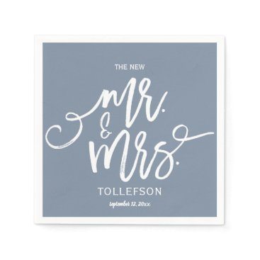 Wedding Themed Wedding Cocktail Napkins | Typography (Dusty Blue)