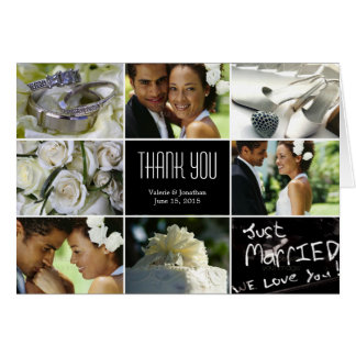 Wedding Collage Thank You Card - Black Cards