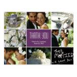 Wedding Collage Thank You Postcard - Purple