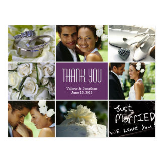 Wedding Collage Thank You Postcard - Purple Postcard