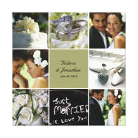 Wedding Collage Wrapped Canvas - Custom Color