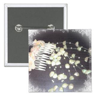 Wedding Comb 2 Inch Square Button