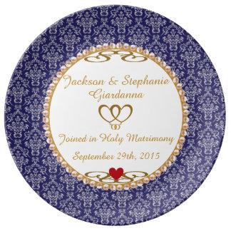 "Wedding Commemorative Gift 10.75"" Porcelain Plate"