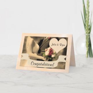 Wedding Congratulations Bride and Groom Sepia Card