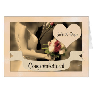 Wedding Congratulations Bride and Groom Sepia Card
