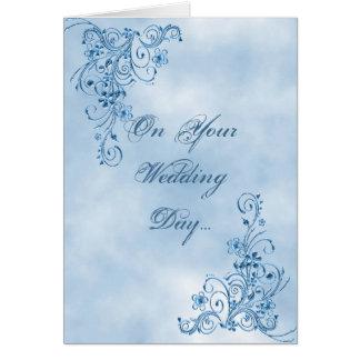 Wedding Congratulations Card: Sky Blue Elegance Card