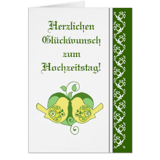 german anniversary cards invitations, greeting & photo cards Wedding Greetings In German wedding congratulations floral heart bird german card wedding greetings in german
