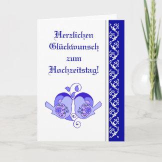 Wedding Congratulations Floral Heart Bird German Card