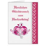 Wedding Congratulations Floral Heart Bird German Greeting Card