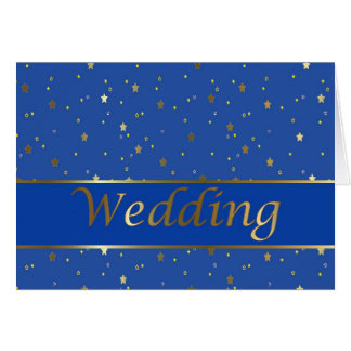 Wedding Congratulations Gold Stars on Blue Card