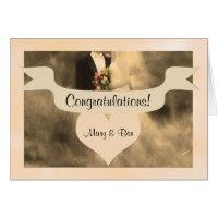 Wedding Congratulations Sepia Bride and Groom Card