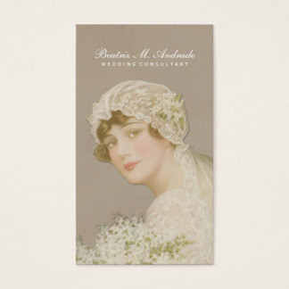 Wedding Consultant Vintage Bride Simple Elegant Business Card