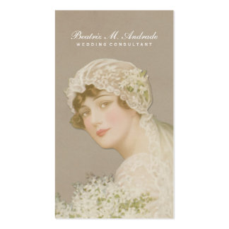 Wedding Consultant Vintage Bride Simple Elegant Business Card Template