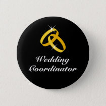 Wedding coordinator golden rings pinback buttons